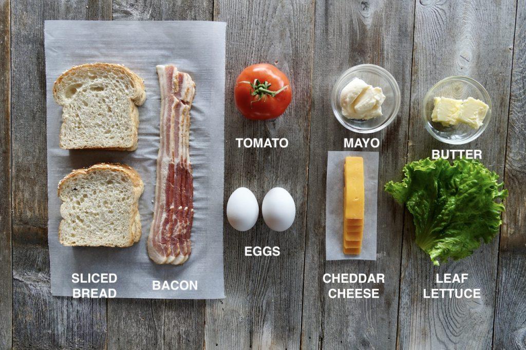 Ingredients for a dagwood sandwich