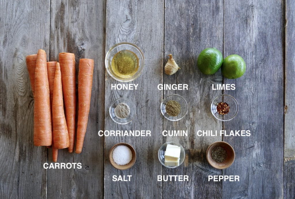 Ingredients for GINGER LIME SPICED CARROTS