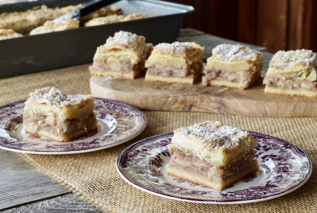 The lazy apple cake cut and served
