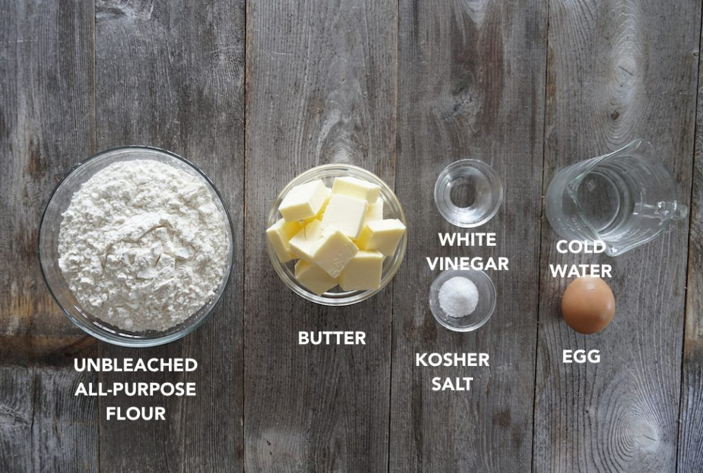 Ingredients for All-Butter Pie Crust