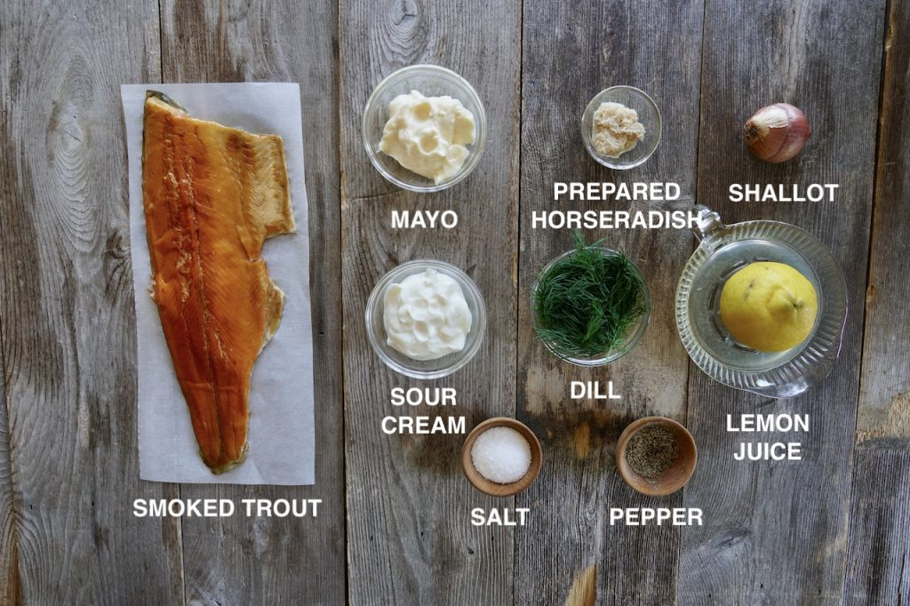 Ingredients for Smoked Trout Dip