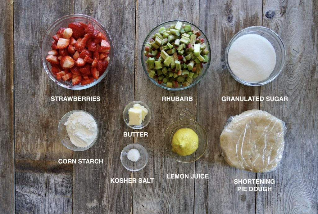 Ingredients for Strawberry Rhubarb Galette