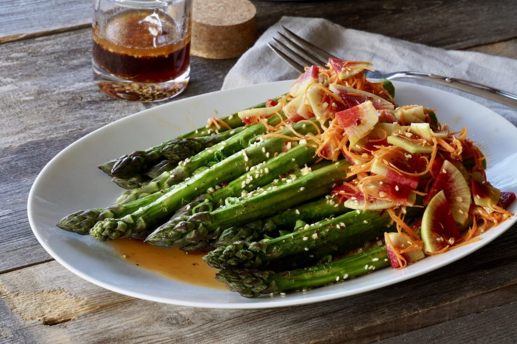 Asparagus and watermelon radish slaw with this Asian Salad Dressing...