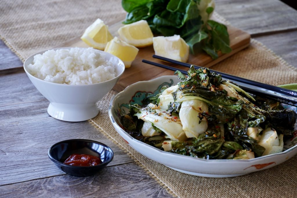 Serving Oven-Roasted Bok Choy for dinner