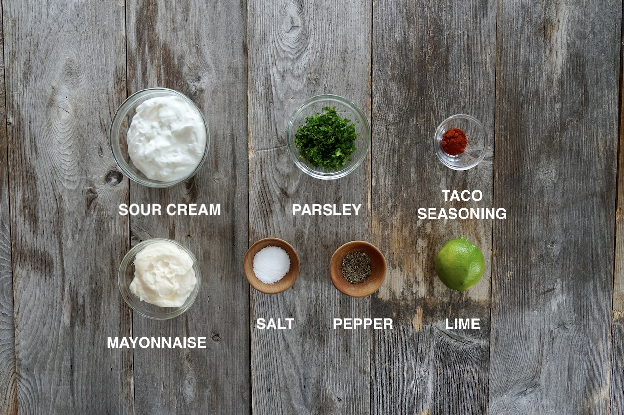 Ingredients for creamy taco sauce