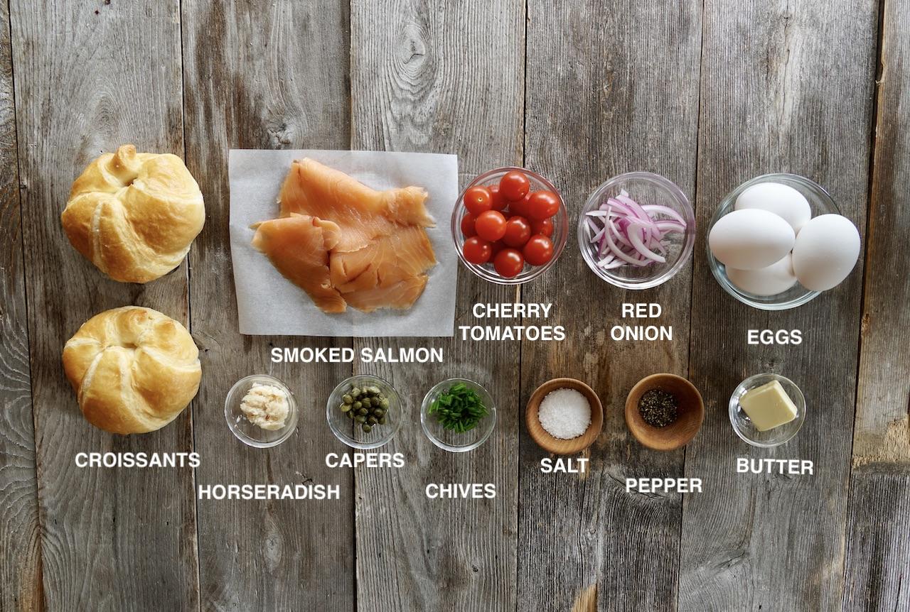 Ingredients for Croissant Breakfast Sandwich