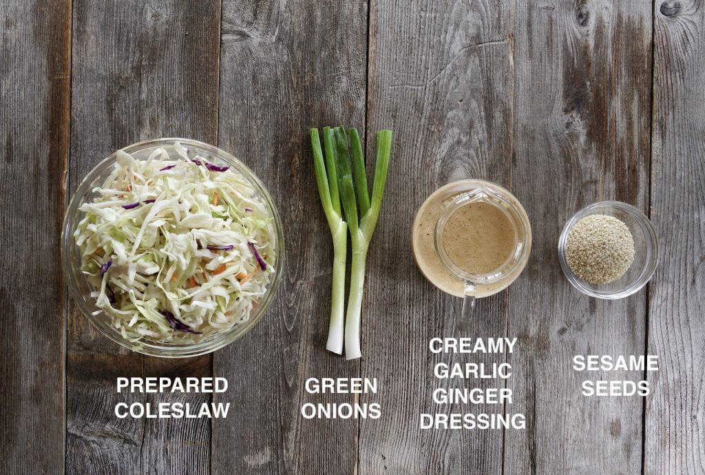 Ingredients for the easy Asian slaw
