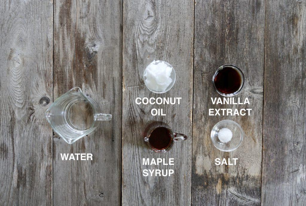Ingredients for the granola glaze