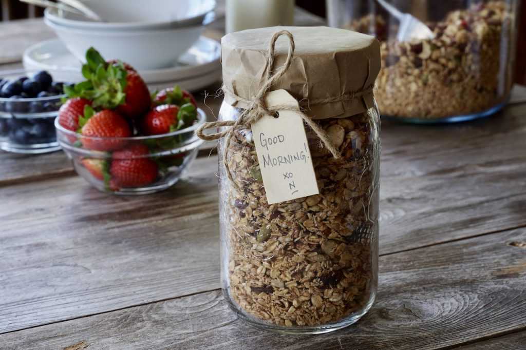 Gluten-free granola packaged up as gifts