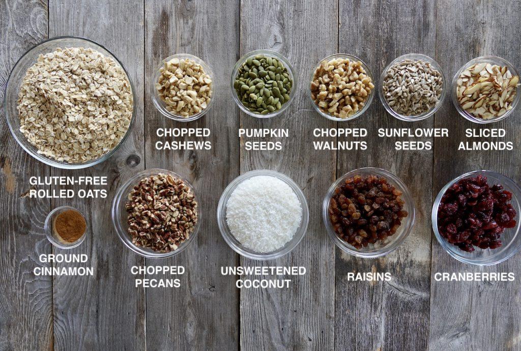 Ingredients for gluten-free granola