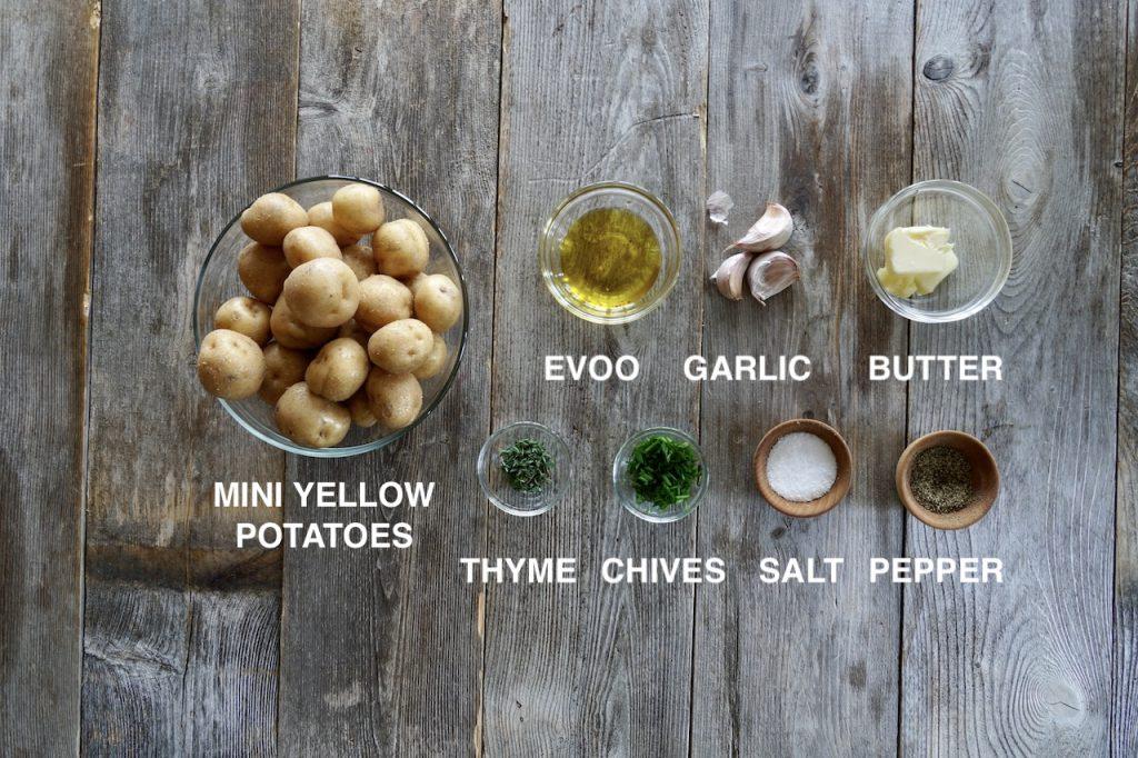 Ingredients for garlic smashed potatoes