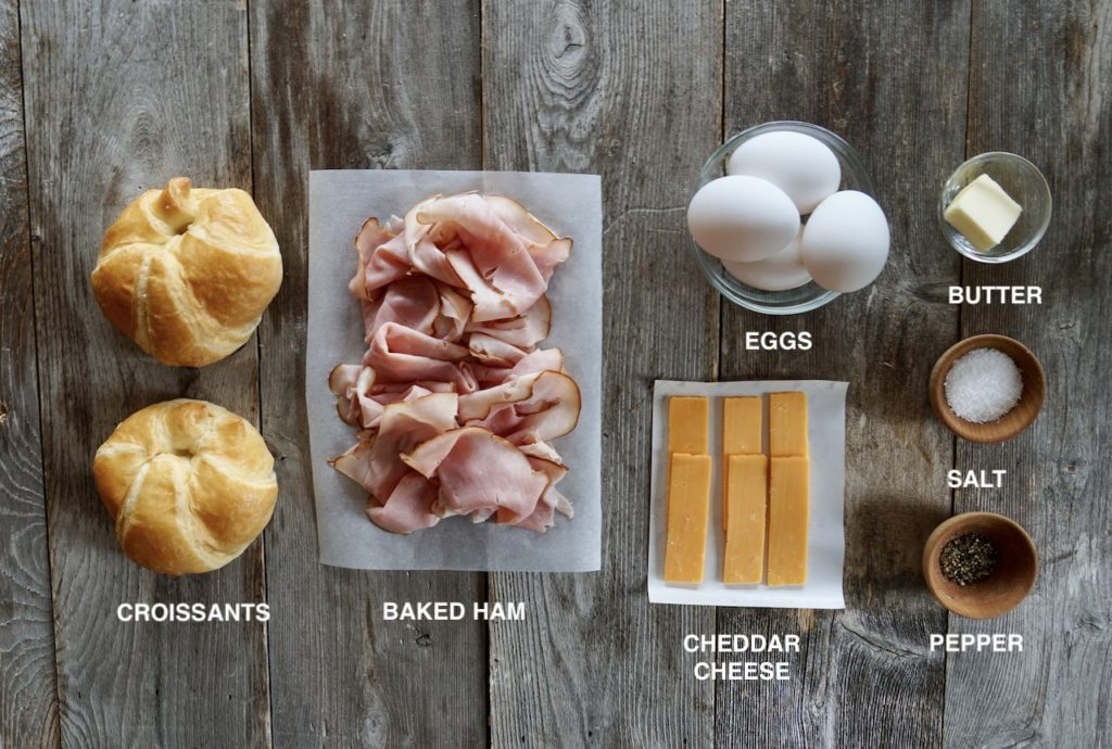 Ingredients for our Ham and Cheese Breakfast Sandwich