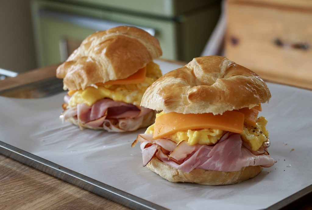 Ham and Cheese Breakfast Sandwiches ready to go into the oven