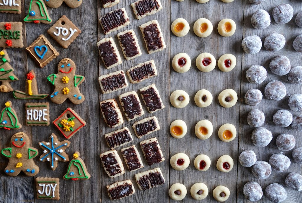 An assortment of holiday cookies