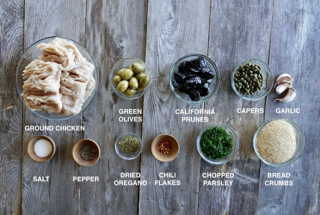 Ingredients for Chicken Marbella Meatballs