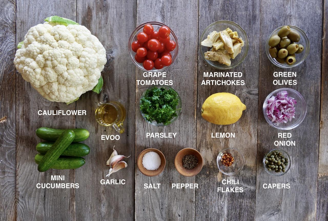Ingredients for Mediterranean Cauliflower Salad
