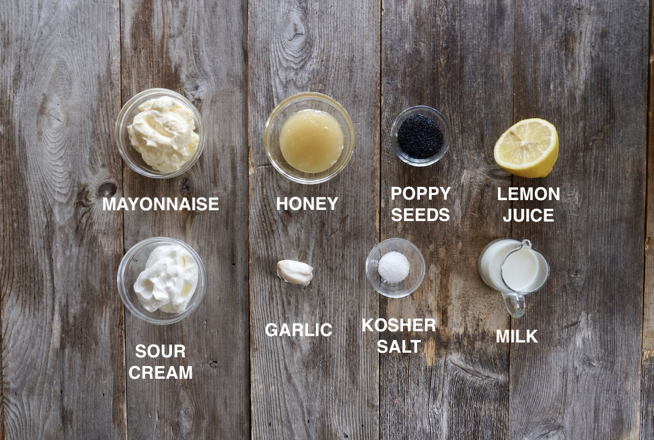 Ingredients for Creamy Poppy Seed Dressing