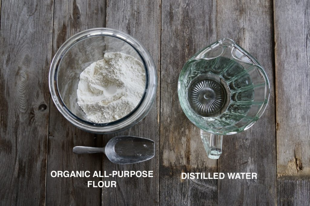 Ingredients for a sourdough starter