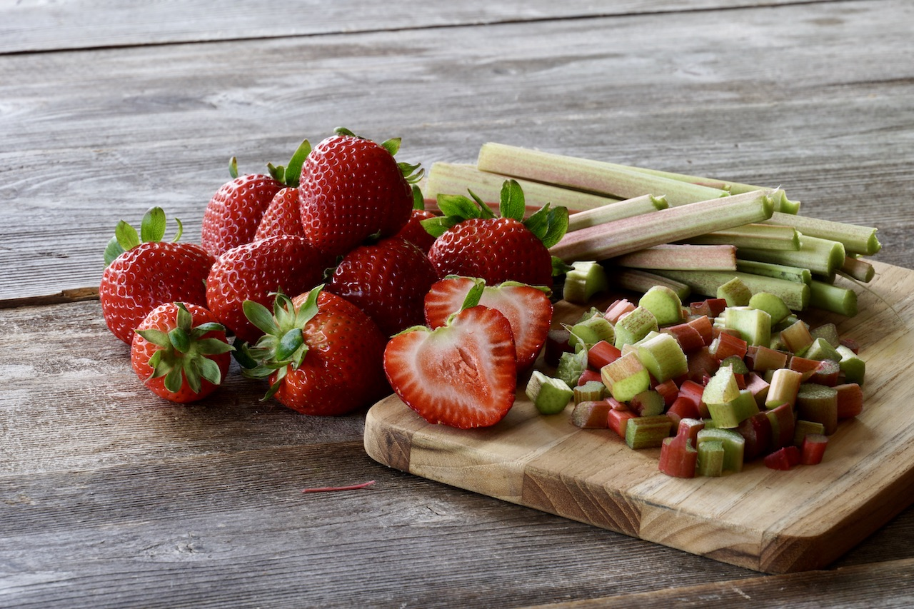 Freshly sliced strawberries and rhubarb