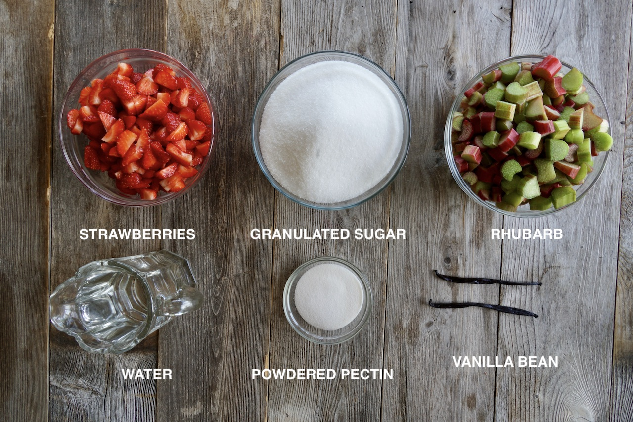 Ingredients for Strawberry Rhubarb Jelly