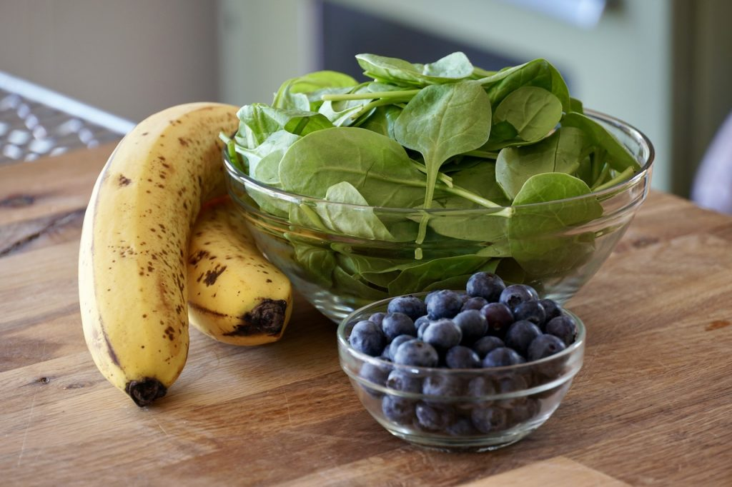 Bananas Blueberries and Spinach