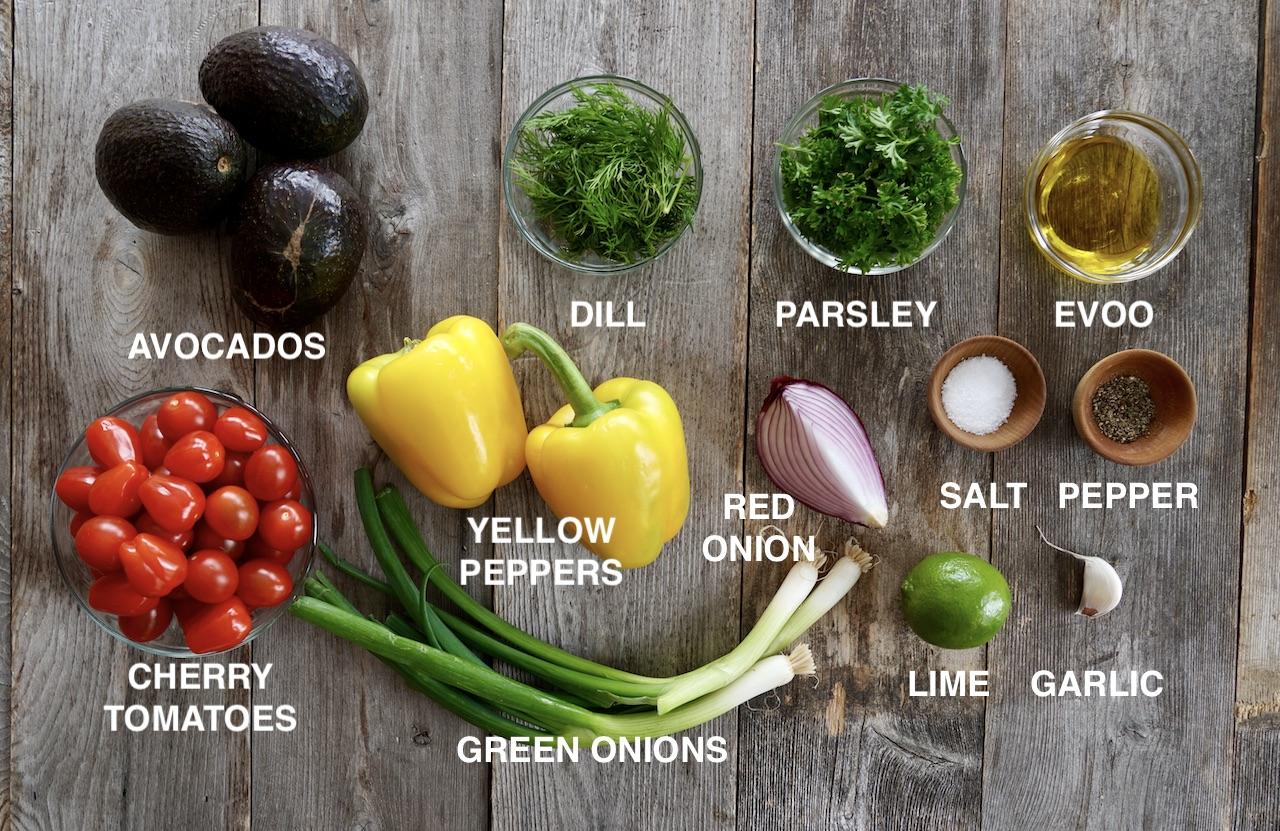 Ingredients for Tomato Avocado Salad