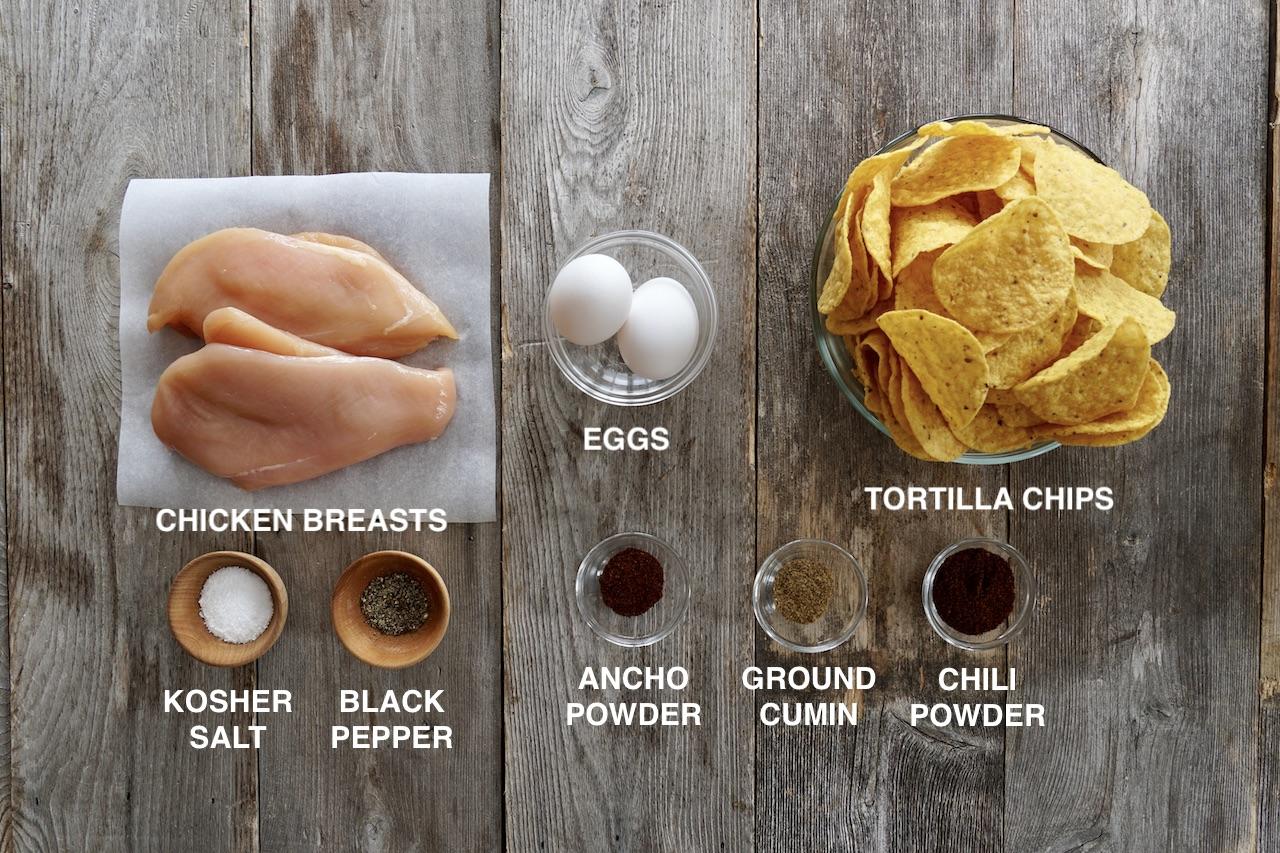 Ingredients for Crispy Tortilla Chicken Fingers
