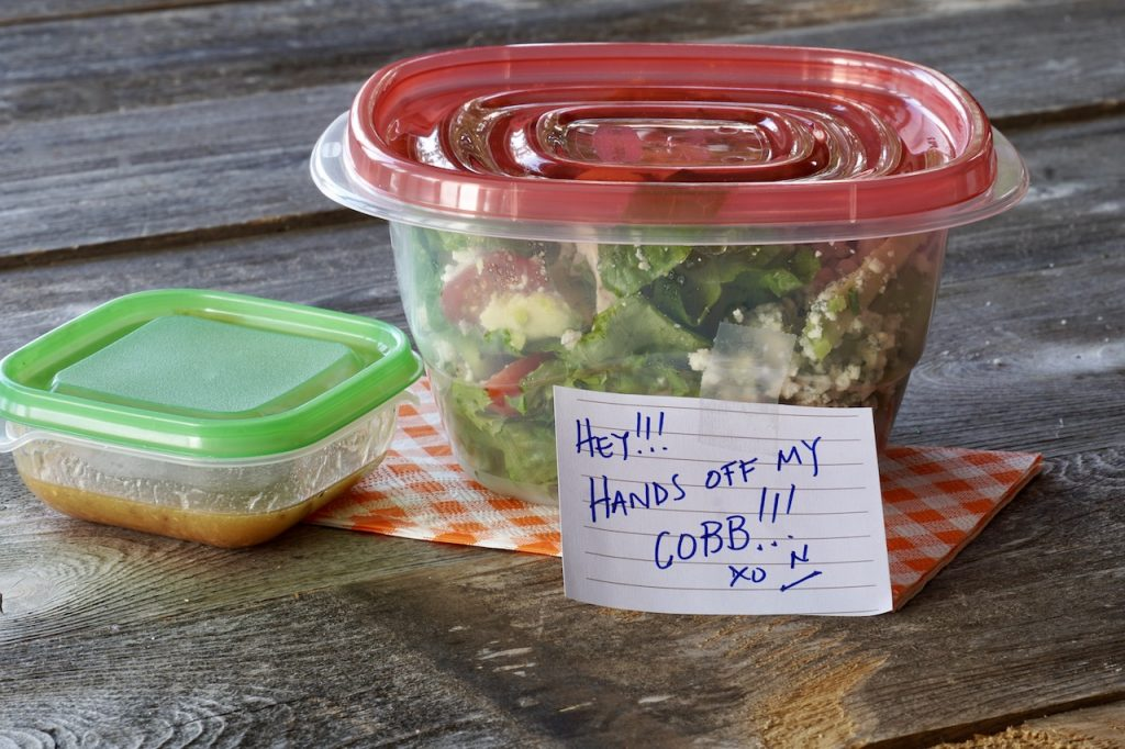 Portion of the Cobb Salad packaged up for a take-to-work lunch!