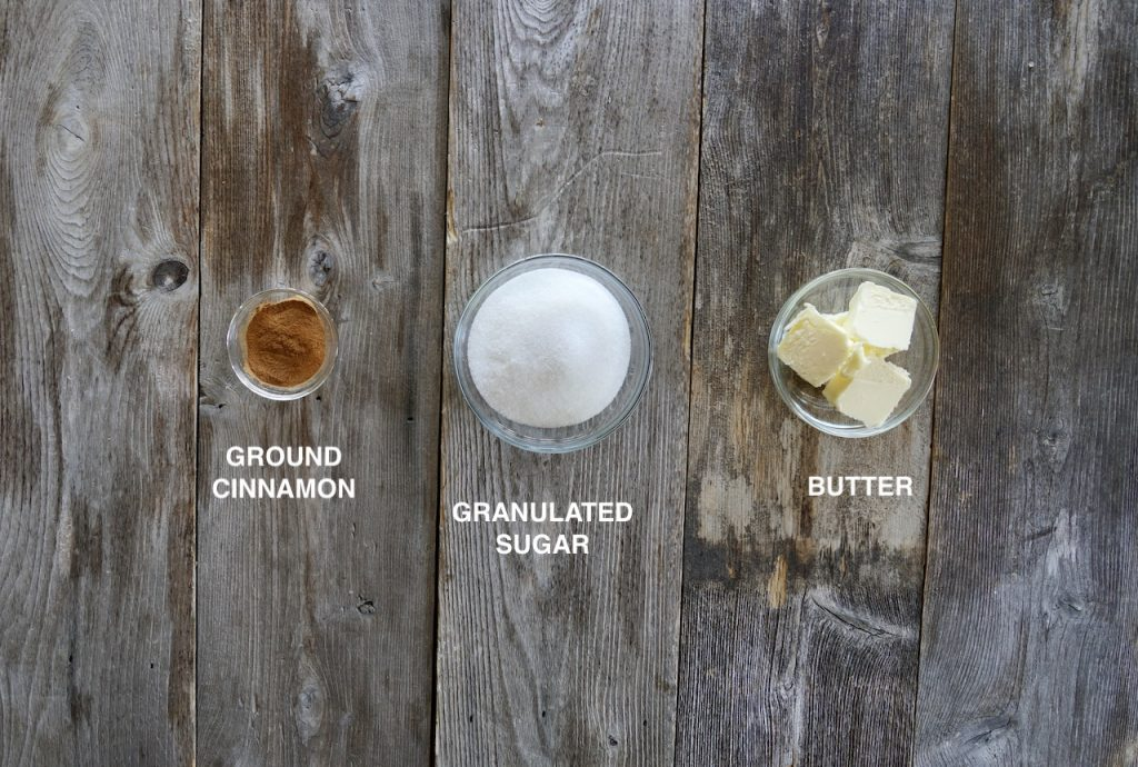Ingredients for the cinnamon sugar