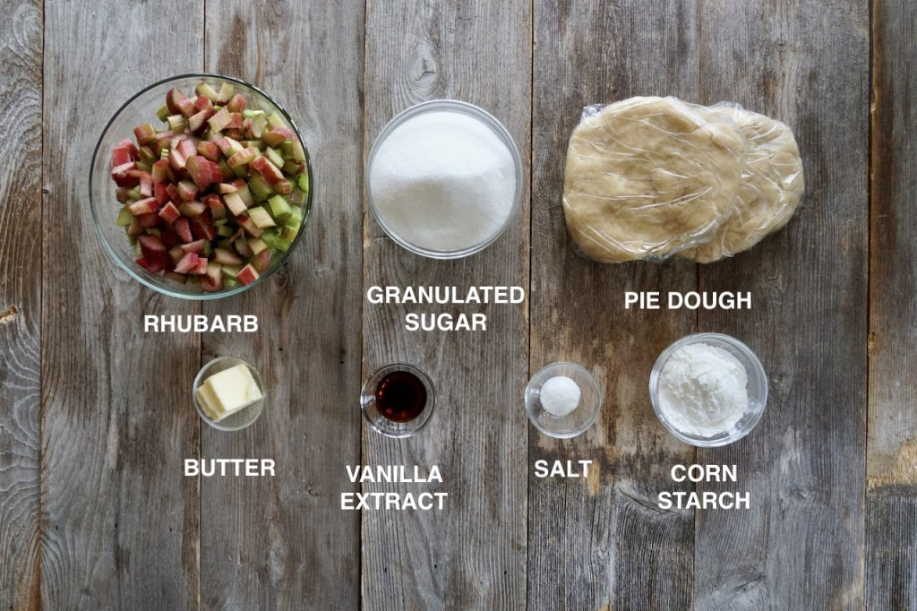 Ingredients for homemade rhubarb pie