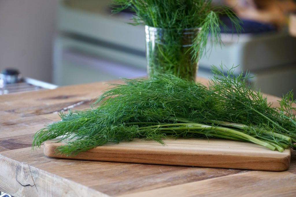 Fresh dill ready to be roughly chopped