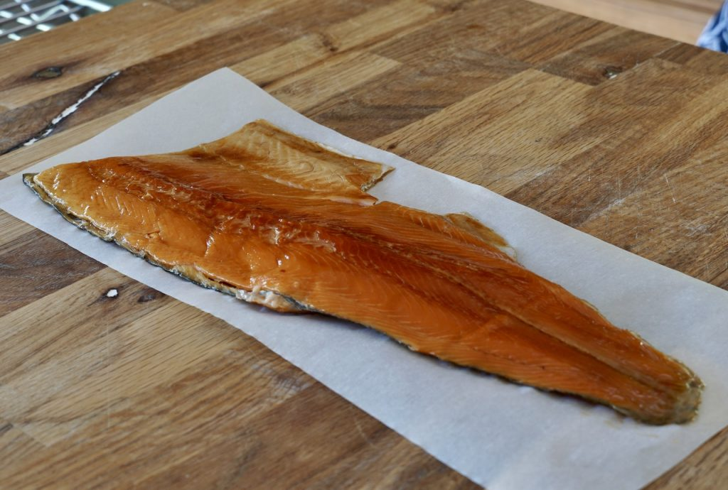 A fillet of smoked rainbow trout