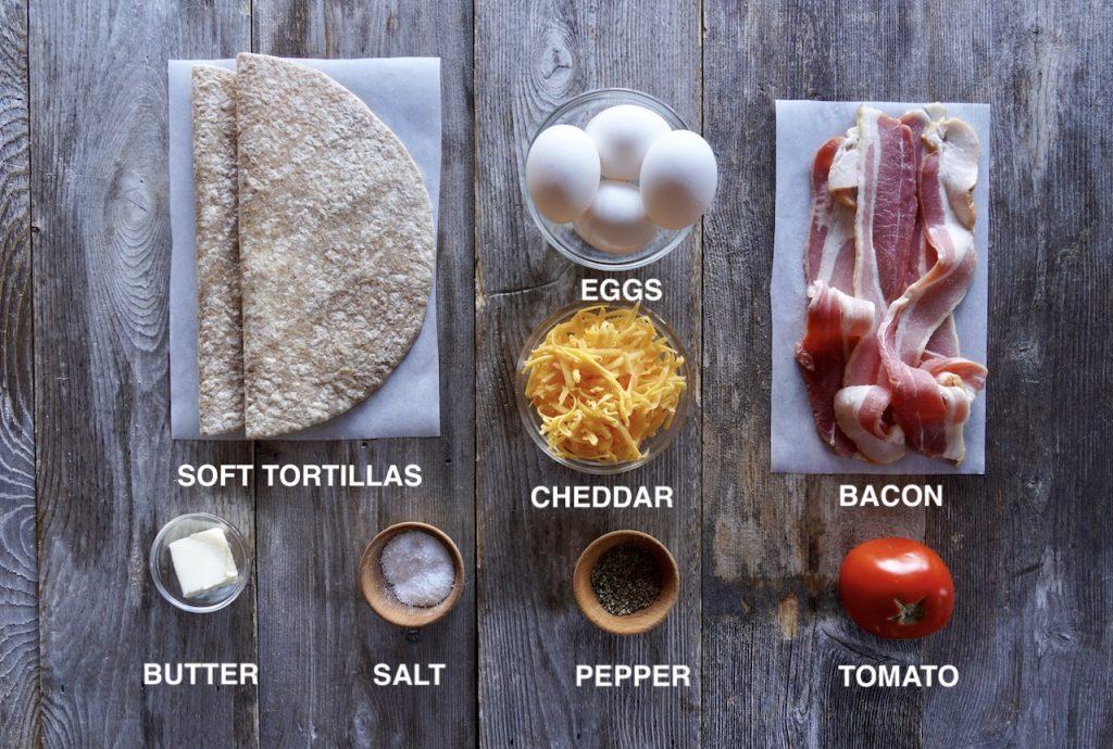 Ingredients for Bacon Egg Breakfast Wrap