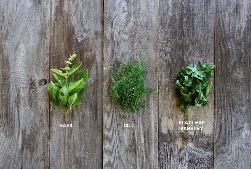 Fresh dill, flat-leaf parsley and basil for the salad