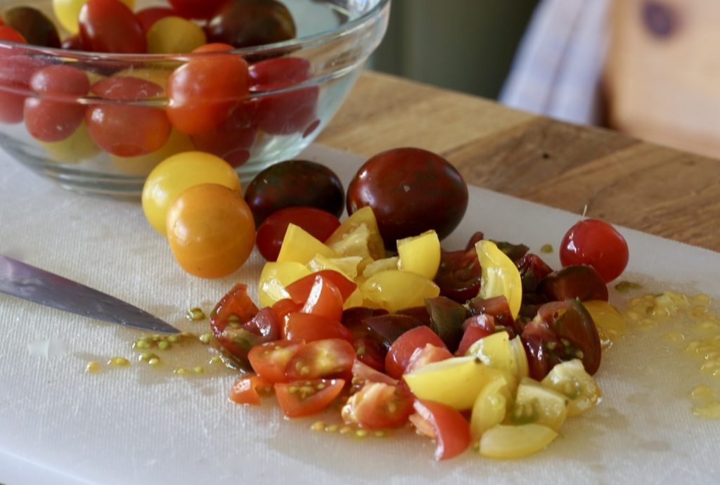 Heirloom cherry tomatoes for the salad