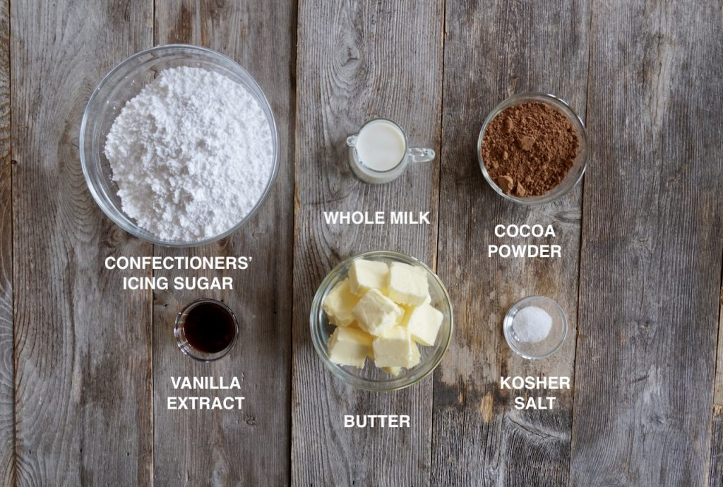 Ingredients for Easy Chocolate Frosting