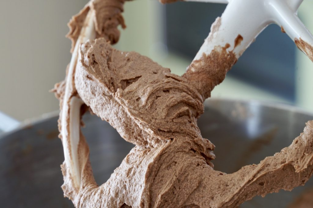 Easy Chocolate Frosting on the paddle of the stand mixer