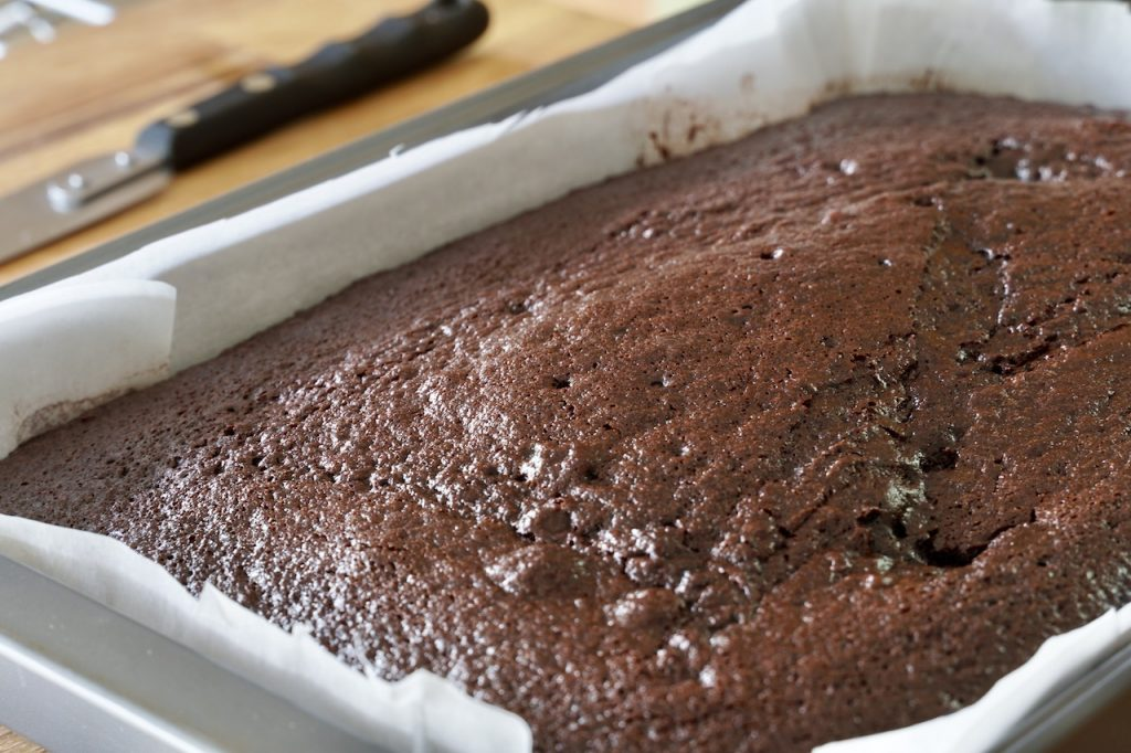 The chocolate slab freshly baked