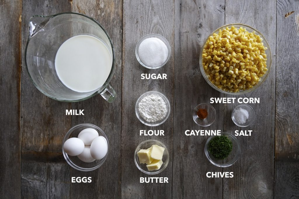 Ingredients for Classic Corn Pudding
