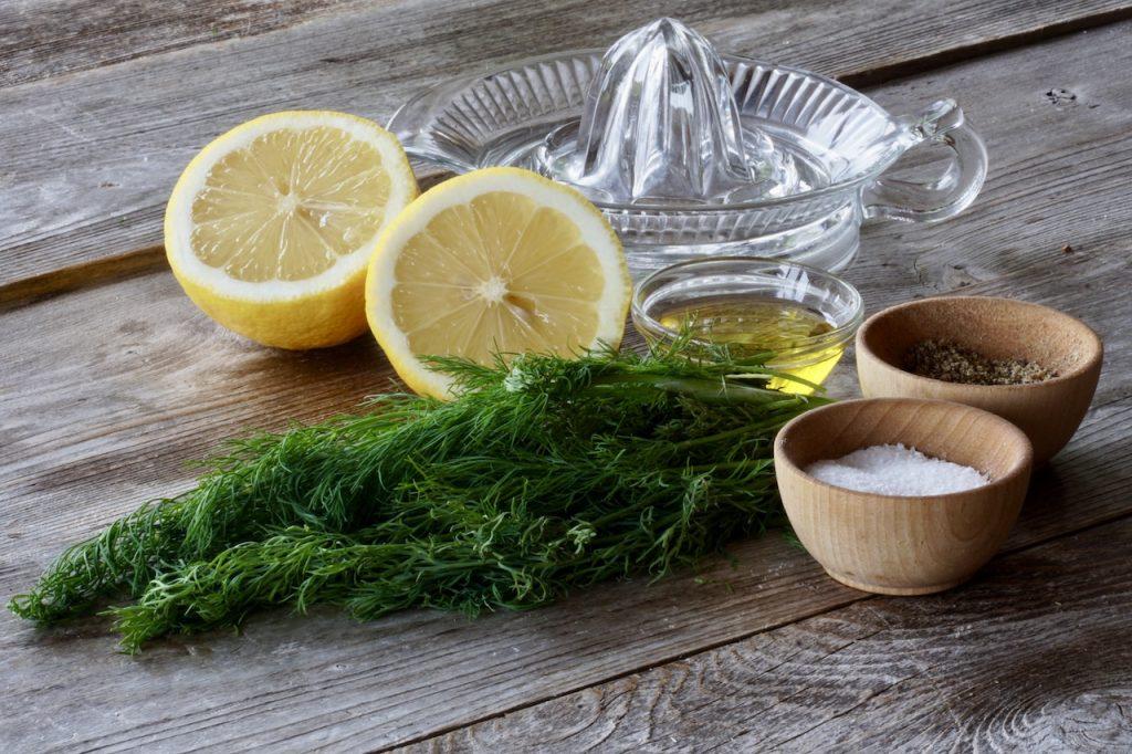 Fresh dill, lemon, olive oil, salt and pepper