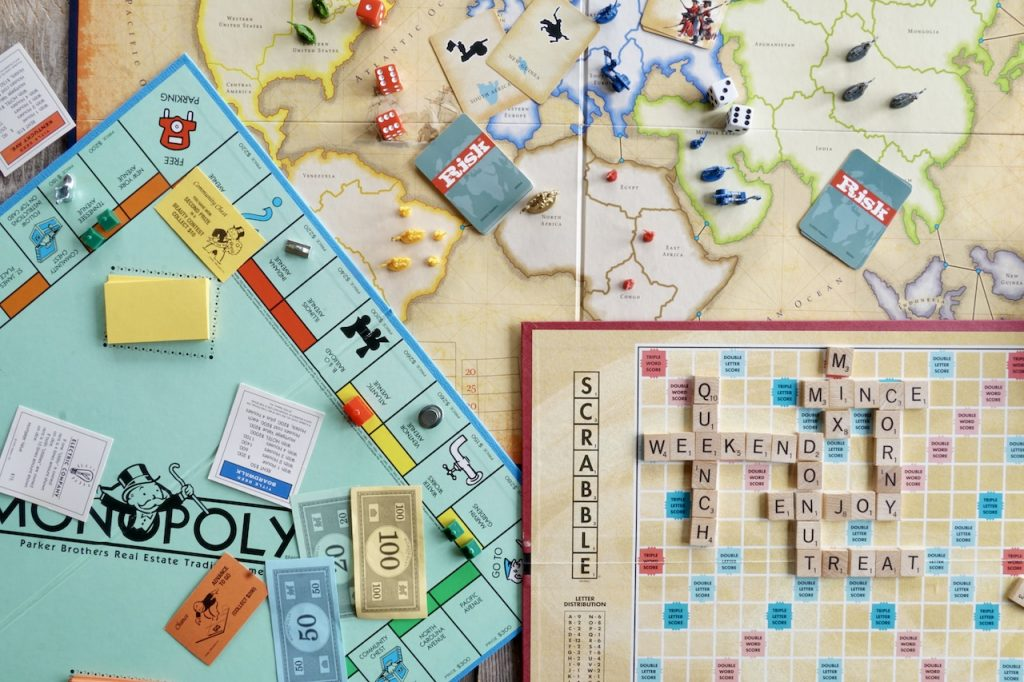 Monopoly, Risk and Scrabble