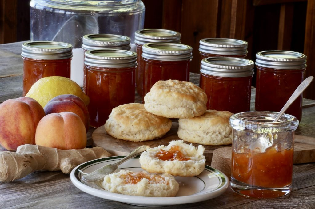 Peach-Ginger Jam served on warm tea biscuits