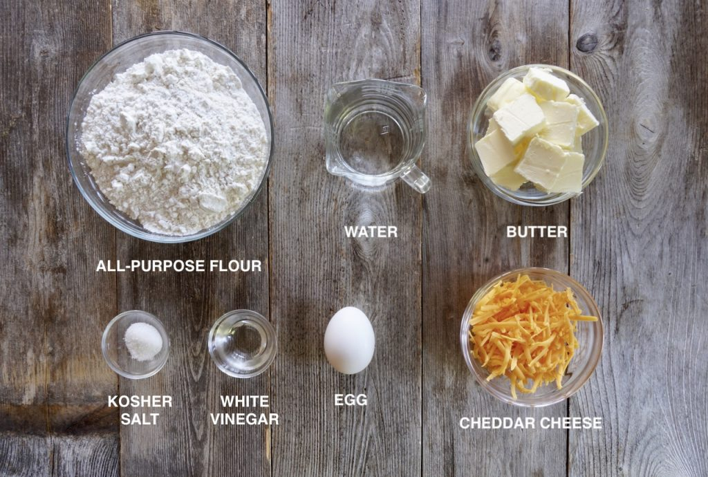 Ingredients for Cheddar Cheese Pie Crust