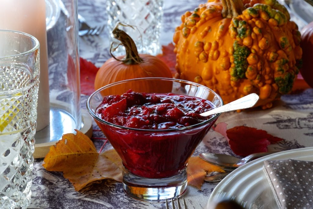 The cranberry sauce served for Thanksgiving