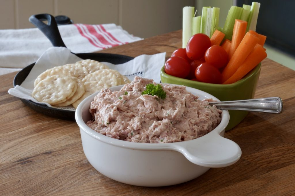 Deviled Ham Spread served as a dip