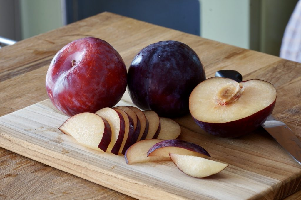 Thinly sliced plums