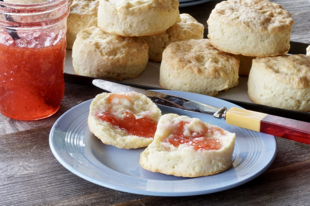 Tea biscuits served with homemade jam