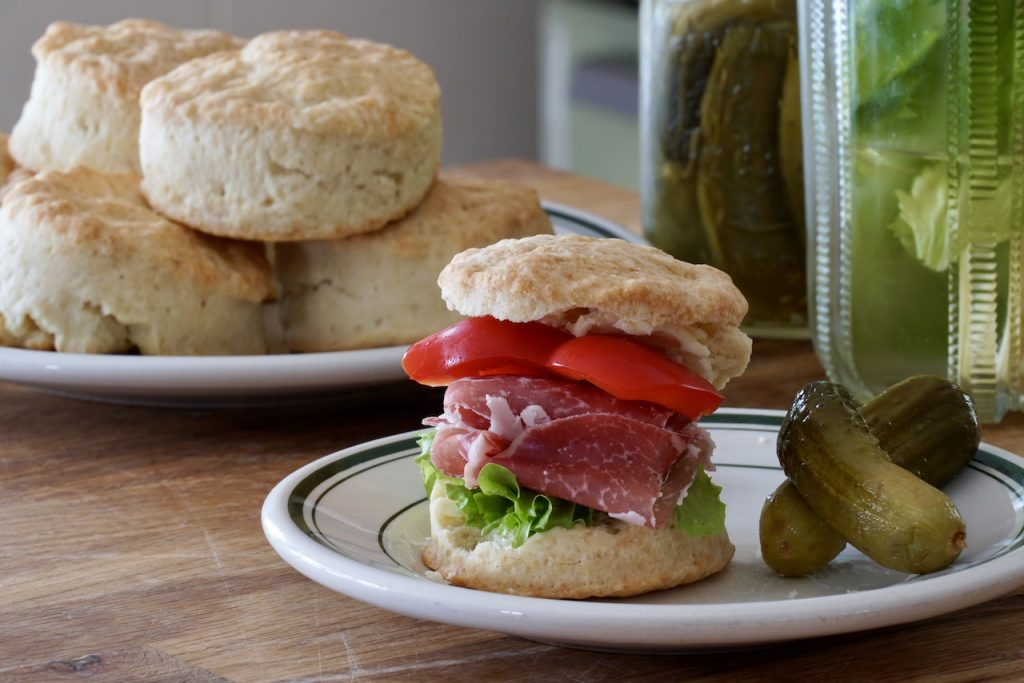 Using tea biscuits to make a sandwich