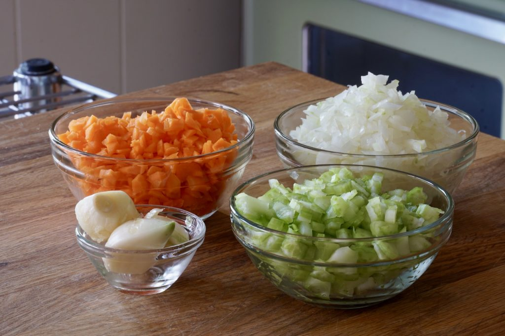 Chopped onion, carrots, celery and garlic for the meaty meat sauce