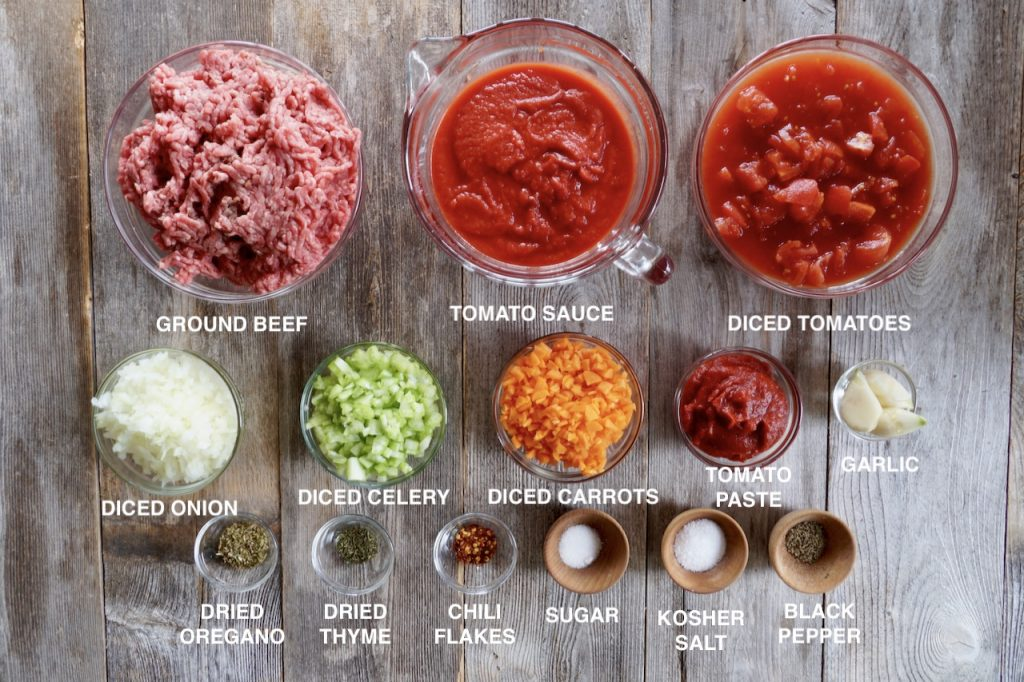 Ingredients for The Best Meaty Meat Sauce